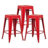 """Poly and Bark Trattoria 24"""" Counter Height Stool in Red (Set of 3)"""