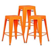 "Poly and Bark Trattoria 24"" Counter Height Stool in Orange (Set of 3)"