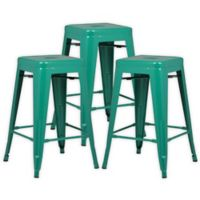 """Poly and Bark Trattoria 24"""" Counter Height Stool in Dark Green (Set of 3)"""