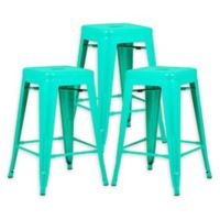 "Poly and Bark Trattoria 24"" Counter Height Stool in Aqua (Set of 3)"