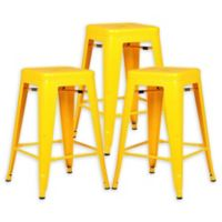 """Poly and Bark Trattoria 24"""" Counter Height Stool in Yellow (Set of 3)"""