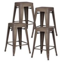 """Poly and Bark Trattoria 24"""" Counter Height Stool in Bronze (Set of 4)"""