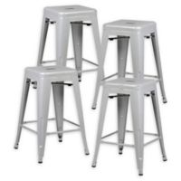 """Poly and Bark Trattoria 24"""" Counter Height Stool in Grey (Set of 4)"""