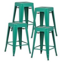"""Poly and Bark Trattoria 24"""" Counter Height Stool in Dark Green (Set of 4)"""