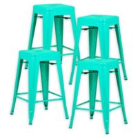 "Poly and Bark Trattoria 24"" Counter Height Stool in Aqua (Set of 4)"
