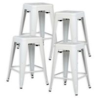 "Poly and Bark Trattoria 24"" Counter Height Stool in White (Set of 4)"