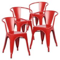 Poly And Bark Dining Iron Chair in Red (Set of 4)