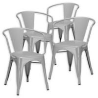 Poly And Bark Dining Iron Chair in Grey (Set of 4)