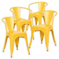 Poly And Bark Dining Iron Chair in Yellow (Set of 2)