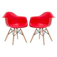 Poly and Bark Vortex Arm Chairs in Red (Set of 2)