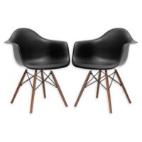 Poly and Bark Vortex Arm Chair Walnut Leg in Black (Set of 2)