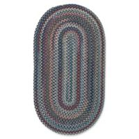 Capel Rugs Bunker Hill Braided 2-Foot x 3-Foot Oval Accent Rug in Medium Blue