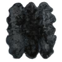 Fibre by Auskin Sheepskin 5'x 6' Accent Rug in Black