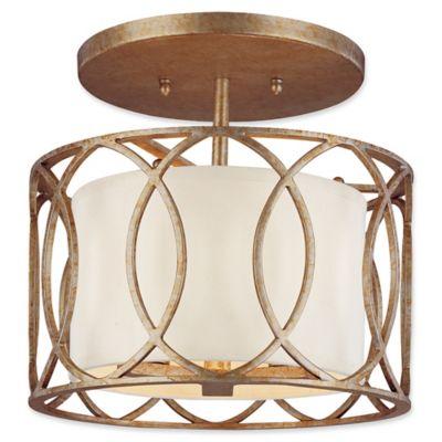 troy lighting sausalito 3light semiflush ceiling light in silver gold