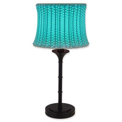 Great Outdoor /Indoor Table Lamp In Brown With Basketweave Shade In Sky Blue