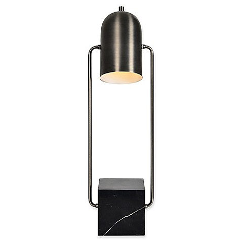 image of Modern Glamour Abbey Table Lamp in Black/Gunmetal  with Metal Shade