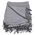 Mina Victory by Nourison Textured Stripe Throw Blanket in Grey
