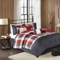 Madison Park Ridge Herringbone 7-Piece Queen Comforter Set in Red