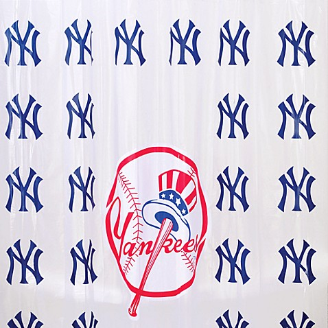Mlb new york yankees pvc frosted shower curtain bed bath for Yankees bathroom decor