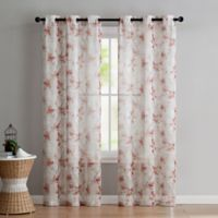 VCNY Home Jasmine Sheer 96-Inch Grommet Top Window Curtain Panel Pair in Coral