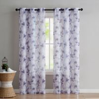 VCNY Home Jasmine Sheer 96-Inch Grommet Top Window Curtain Panel Pair in Plum