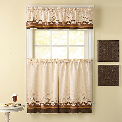Caf Au Lait Kitchen Window Curtain Tiers And Valance Bed Bath Beyond
