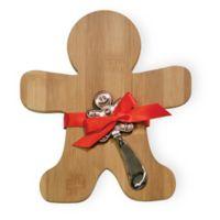 Boston International 8-Inch x 8-Inch Bamboo Gingerbread Man Cutting Board