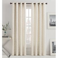 Mosaic Hexa Lined 95-Inch Light-Filtering Grommet Top Window Curtain Panel in Ivory
