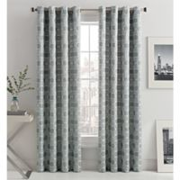 Mosaic Hexa Lined 108-Inch Light-Filtering Grommet Top Window Curtain Panel in Grey