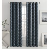 Mosaic Hexa Lined 84-Inch Light-Filtering Grommet Top Window Curtain Panel in Ink