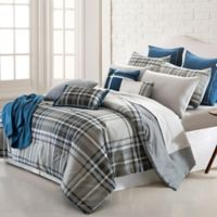 Pacific Coast Textiles George Plaid 16-Piece Reversible King Comforter Set in Grey