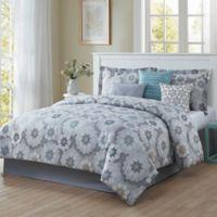 Studio 17 Splendid 7-Piece Reversible Queen Comforter Set in Blue/Grey