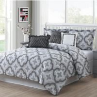 Studio 17 Brussels 7-Piece Reversible Queen Comforter Set in Grey/White