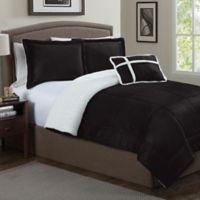 Micro Sherpa 3-Piece Twin Comforter Set in Black