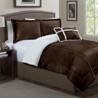 Micro Sherpa 3-Piece Twin Comforter Set in Chocolate