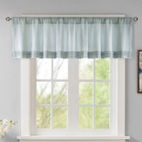 Madison Park Emily Faux Silk Solid Pleated Window Valance in Dusty Aqua