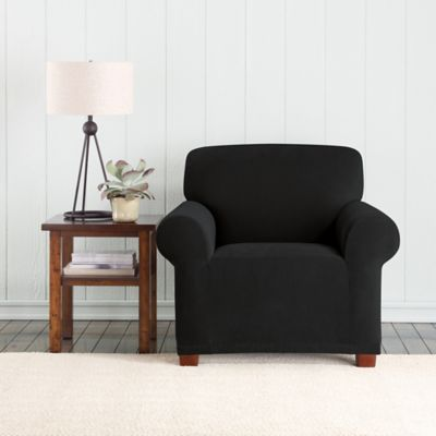 Sure Fit® Pixel Corduroy Box Cushion Chair Cover In Black