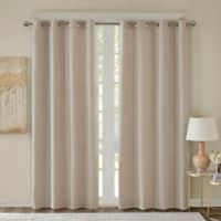 Emmer Jacquard Solid 63-Inch Grommet Top Room Darkening Window Curtain Panel in Tan