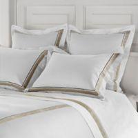 Frette at Home Arno Standard Pillow Sham in White/Stone