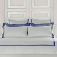 Frette At Home Arno King Pillowcases in White/Sapphire (Set of 4)