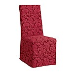 Sure Fit® Scroll Dining Chair Cover in Burgundy