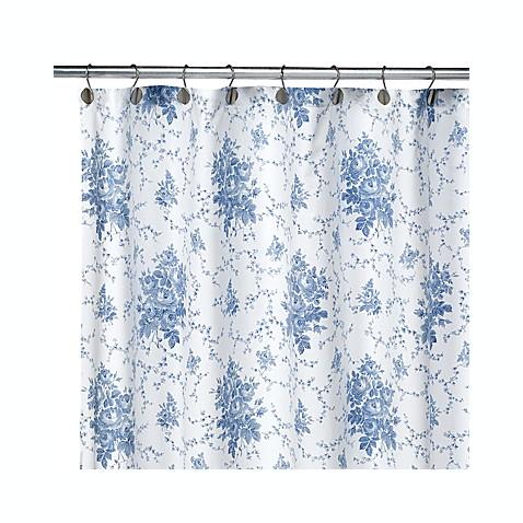 Laura Ashley Sophia Blue Fabric Shower Curtain Bed Bath Beyond