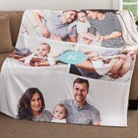 Photo Collage Monogram 50-Inch x 60-Inch Fleece Throw Blanket