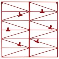 Kate and Laurel Whitt Metal Wire Wall Organizer with Clips in Red
