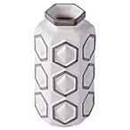 Varaluz Casa Large Hex Ceramic Vase in White/Grey
