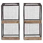 Kate and Laurel Metal Cage Wall Shelves in Black/Brown (Set of 2)