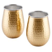 Old Dutch International® Two-Ply Hammered Wine Glasses in Champagne (Set of 2)