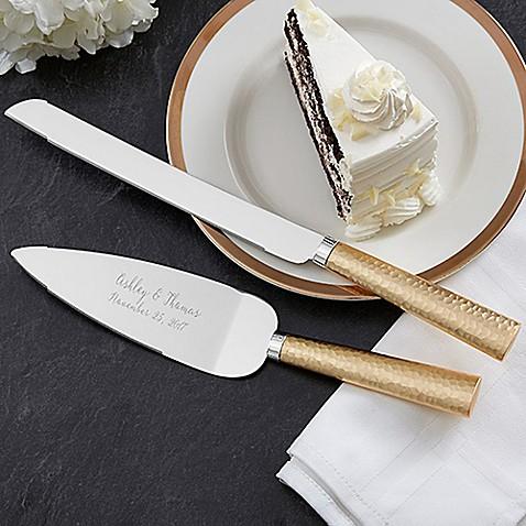 Gold Hammered Engraved Cake Knife And Server Set