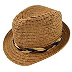 Rising Star™ Newborn Natural Straw Fedora with Multicolor Braid Band