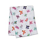 Lulujo Baby Butterfly Muslin Swaddle Blanket in White